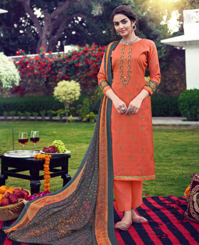 Peach Cotton Slub Suit Fabric Set with Embroidery