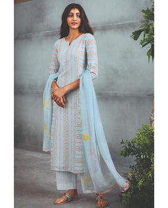 Light Cyan Linen Cotton Printed Suit Fabric Set With Sequence Highlight