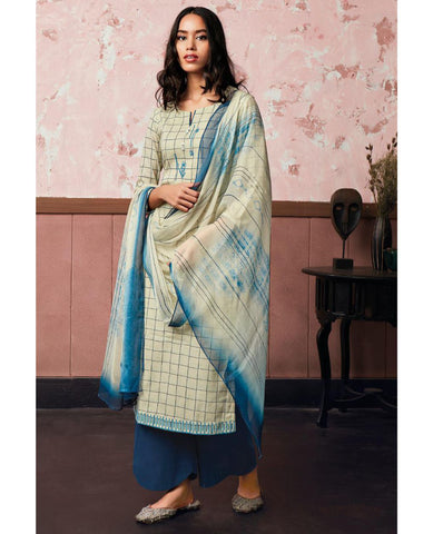 Whitish Blue Cotton Linen Printed Suit Fabric Set With Embroidery