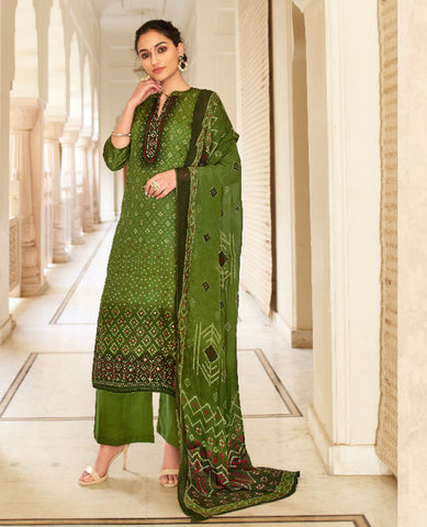 Mehandi Green Dyed Cotton Jaam Printed Suit Fabric Set with Embellishments