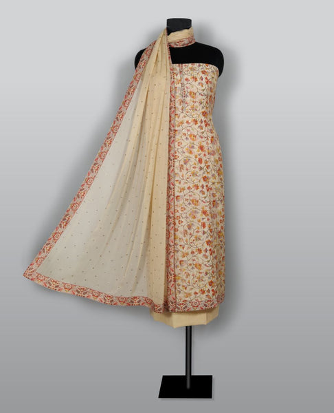 Light Pink Modal Cotton Printed With Thread Embroidery Suit Fabric Set