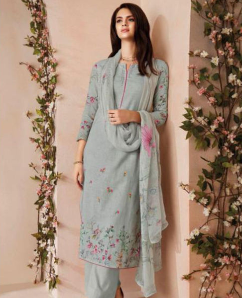 Greyish Blue Printed Linen Suit Fabric Set