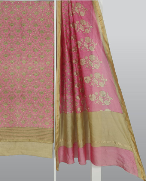 Rose Pink Chanderi Printed Suit Fabric Set With Kantha Work