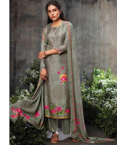 Silver Grey Summer Silk Printed Suit Fabric Set With Embroidery
