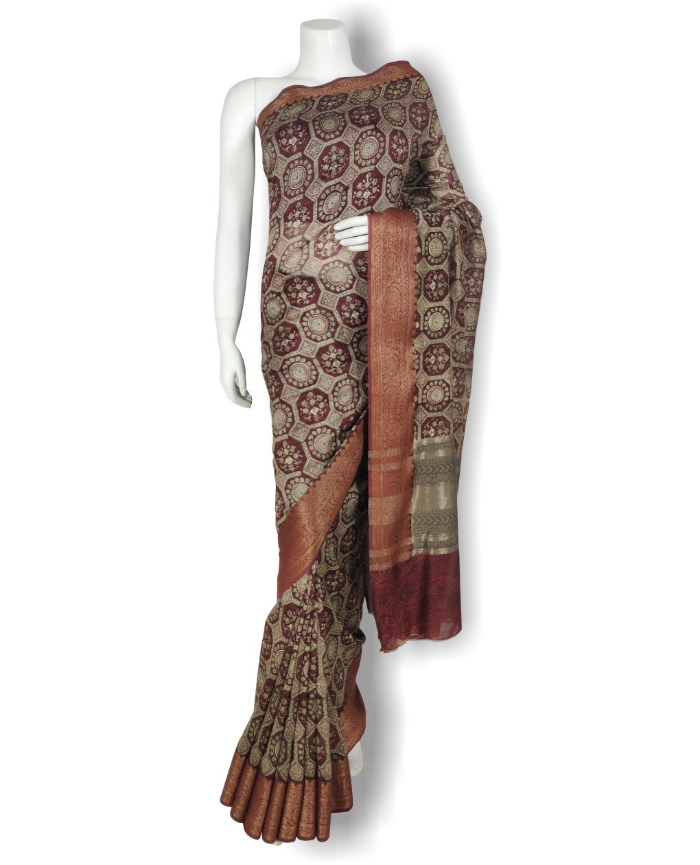 Maroon Green Chanderi Printed Saree