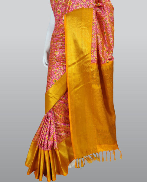 Hot Pink Patola Print Silk Saree