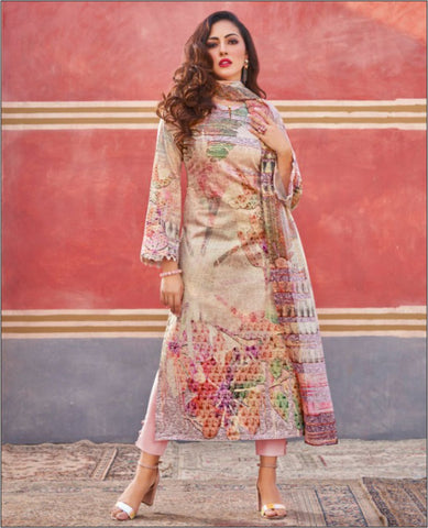 Light Pink Color Lawn Cotton Printed Unstitched Suit Fabric Set