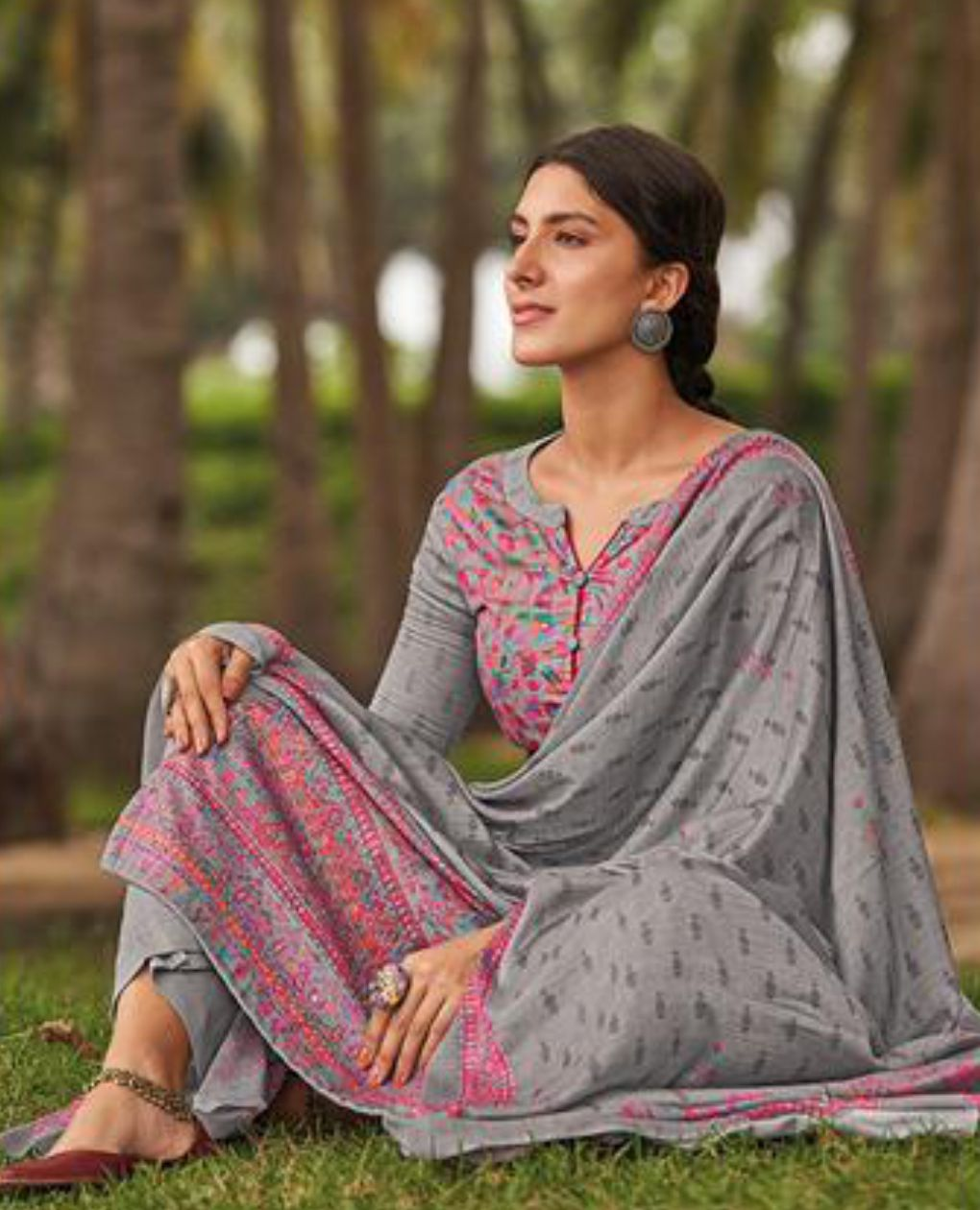 Grey Cotton Glazed Printed Suit Fabric Set With Embellishments