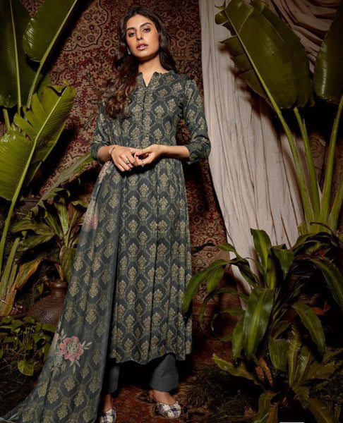 Dark Grey Cotton Printed Suit Fabric Set with Neck Embroidery