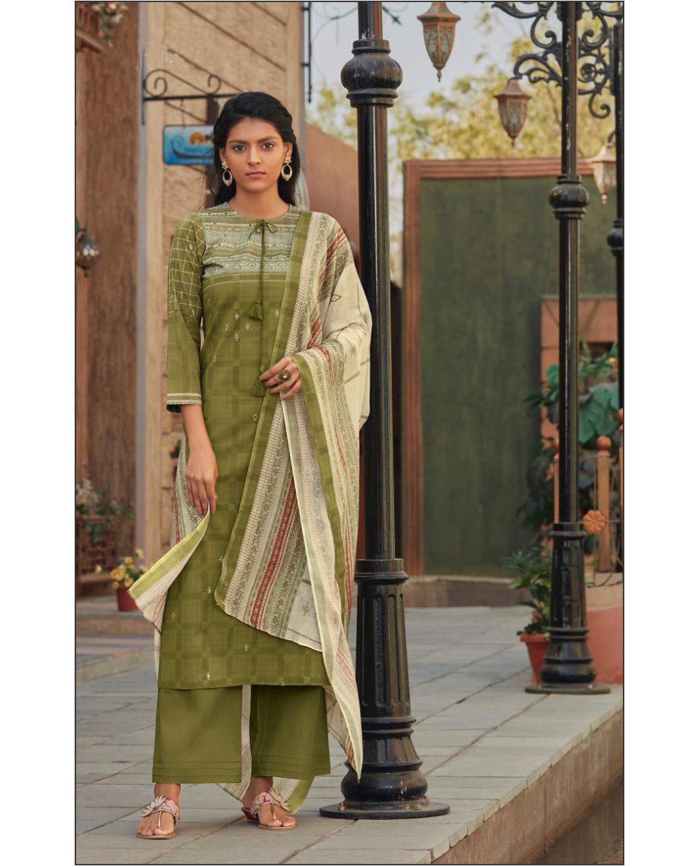 Mehandi Green Printed Cotton Suit Fabric Set With Mirror Work
