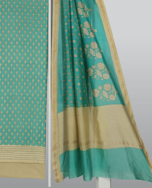 Aquamarine Chanderi Printed Suit Fabric Set With Kantha Work