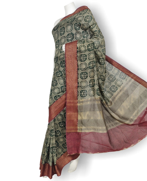 Dark Green Chanderi Printed Saree