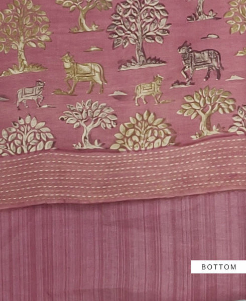 Pale Violet Red Chanderi Silk Printed with Kantha Border Suit Fabric Set