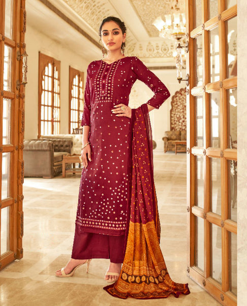 Maroon Ombre Dyed Cotton Jaam Printed Suit Fabric Set with Embellishments