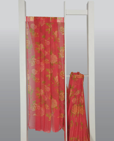 Carrot Color Chiffon Printed Saree