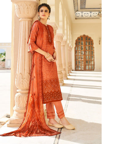 Peach Ombre Dyed Cotton Jaam Printed Suit Fabric Set with Embellishments