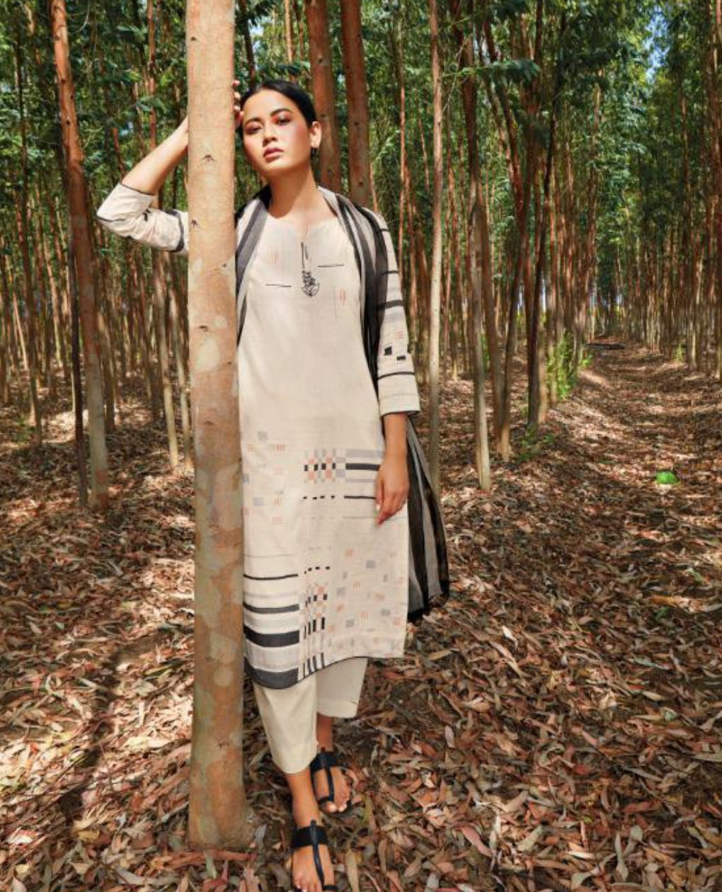 Off White Printed Cotton Suit Fabric Set with Embroidery