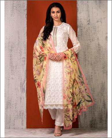 White Kota Doriya Embroidered Unstiched Suit Fabric Set