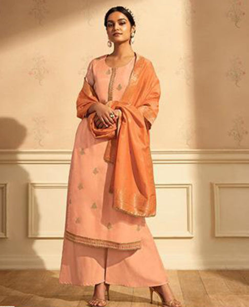 Peachy Pink Embroidered Suit Fabric Set in Summer Silk