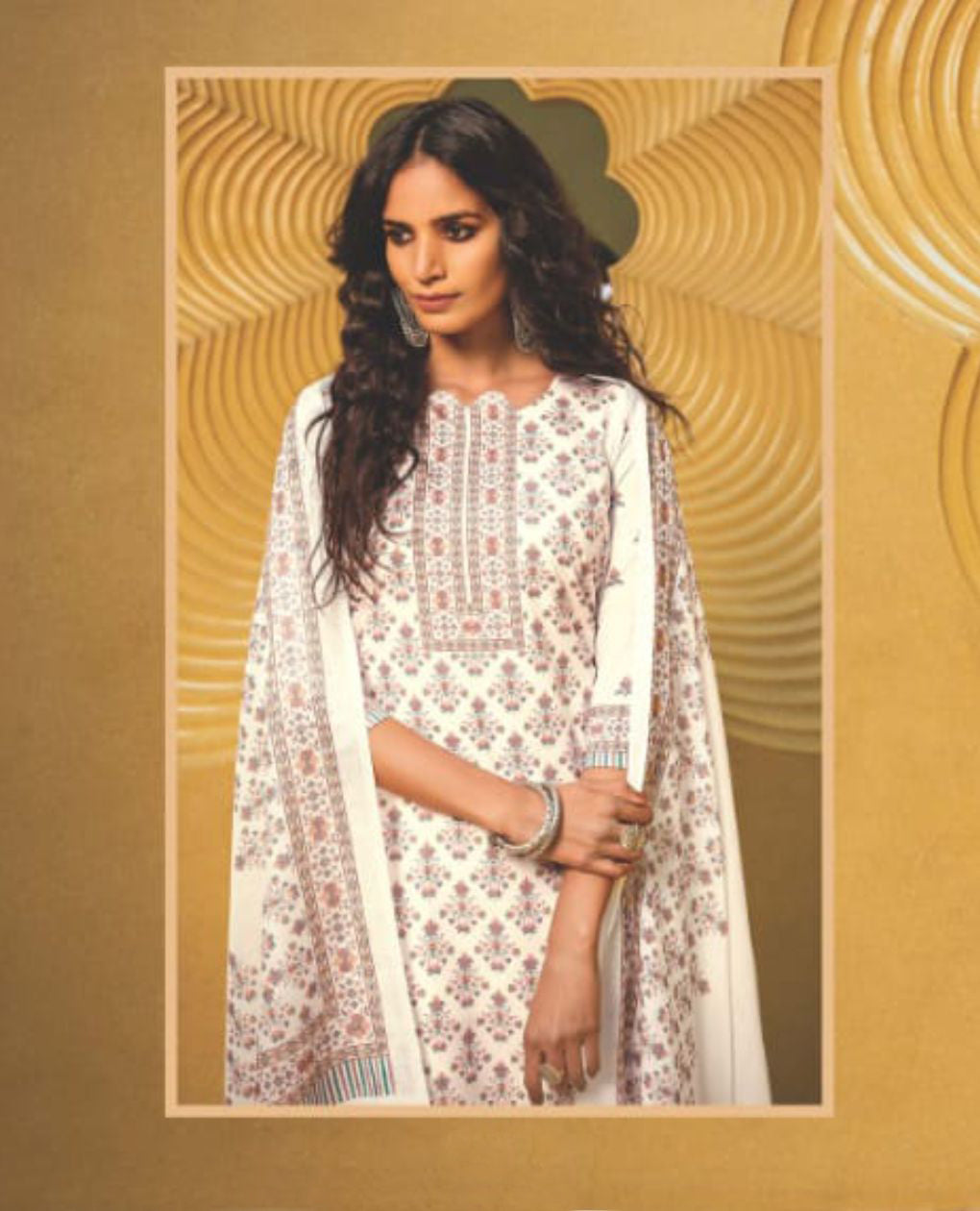 White Printed Cotton Unstitched Suit Fabric Set