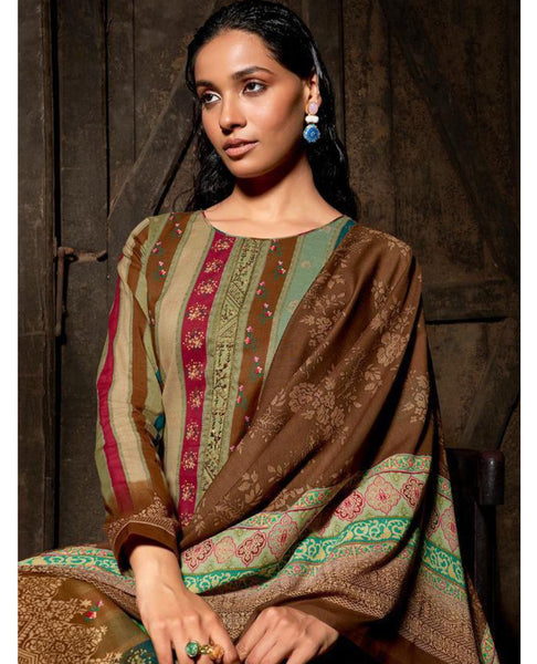 Brown Cotton Printed Unstitched Suit Fabric Set With Embroidery