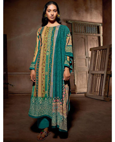 Dark Green Cotton Printed Unstitched Suit Fabric Set With Embroidery