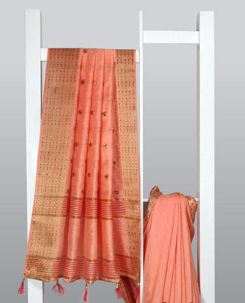 SalmonThread Embroidered With Embellishments Linen Silk Saree