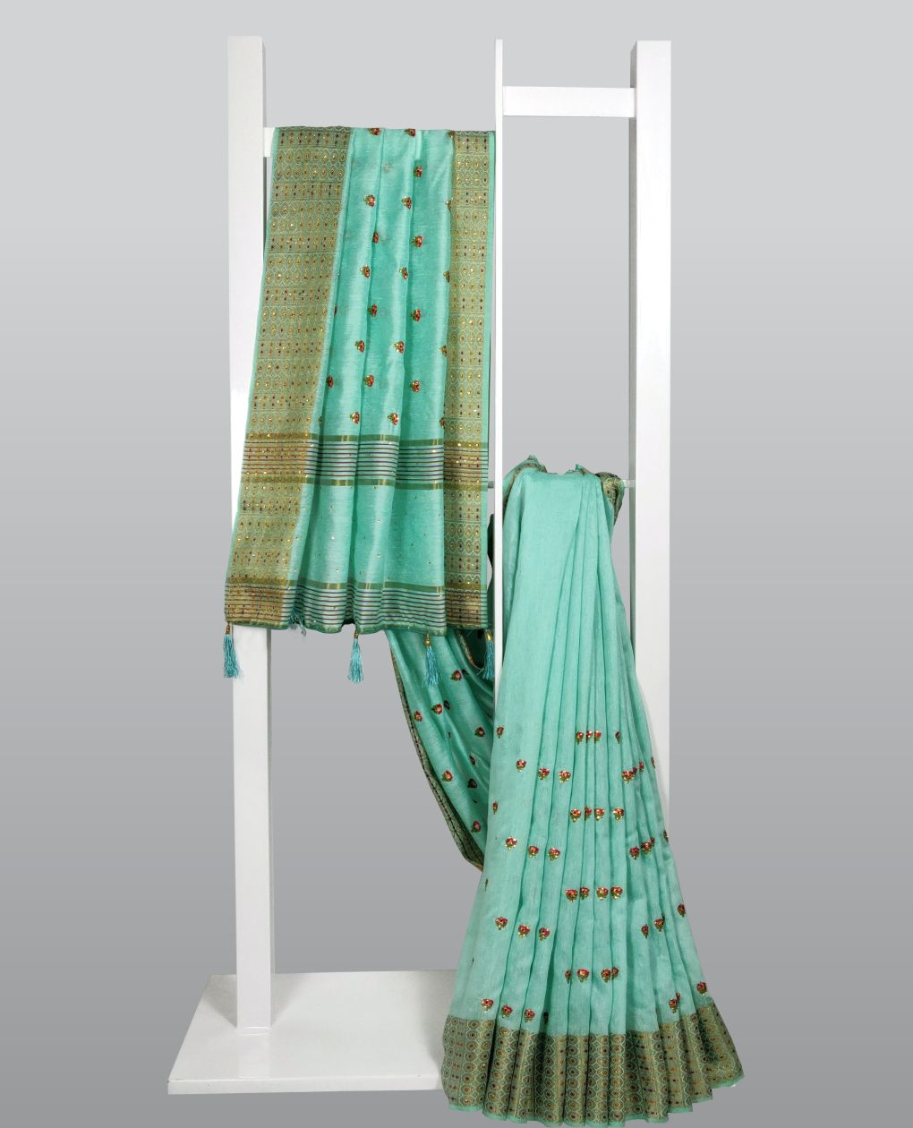 Light Spring GreenThread Embroidered With Embellishments Linen Silk Saree