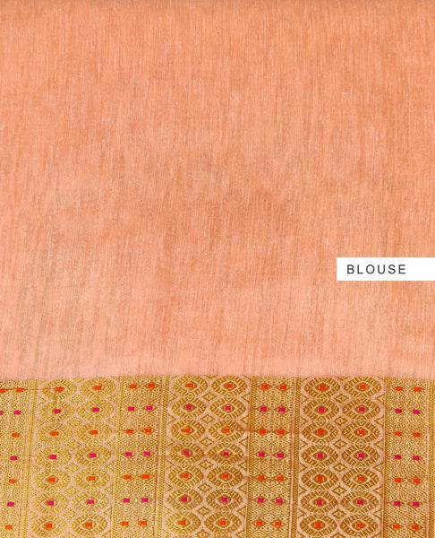 Coral Thread Embroidered With Embellishments Linen Silk Saree
