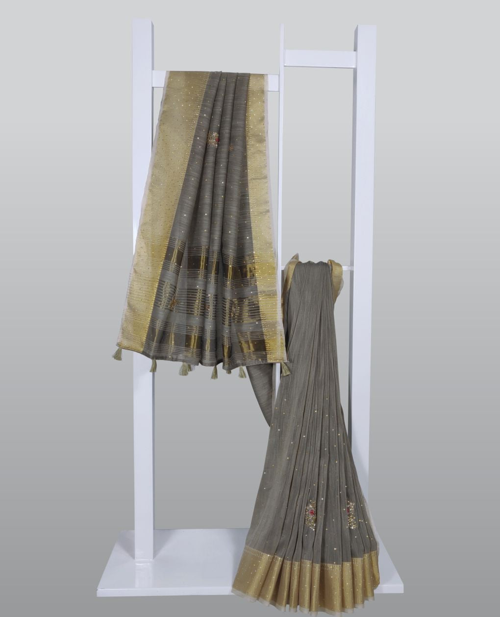 Dim Grey Thread Embroidered With Embellishments Linen Silk Saree