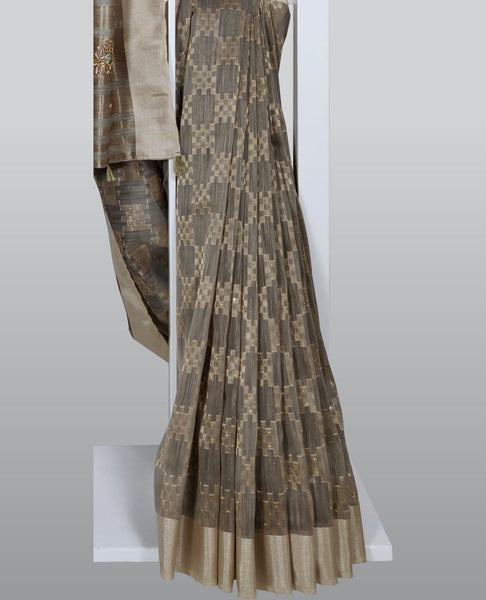 Grey Woven in Geometrical Patterns With Embellishments Linen Silk Saree