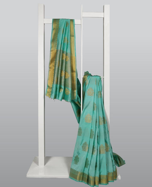 Medium Aquamarine Woven Silk Viscose Saree