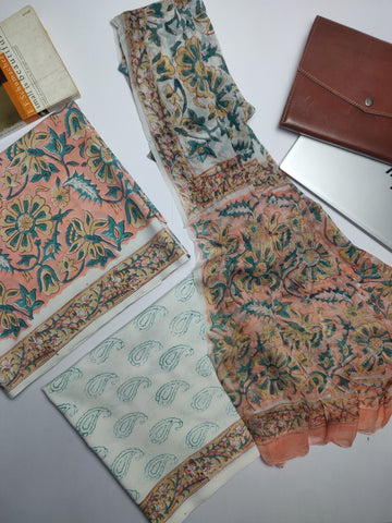 Peach Hand Block Printed Lizy Bizy Unstitched Suit Fabric Set