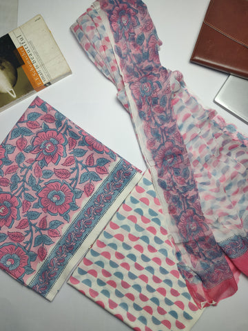 Pink Hand Block Printed Lizy Bizy Unstitched Suit Fabric Set