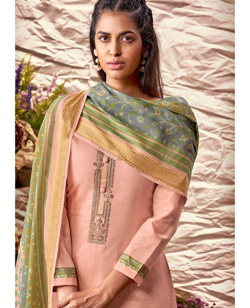 Light Peach Printed Glazed Cotton Suit Fabric Set with Neck Embroidery