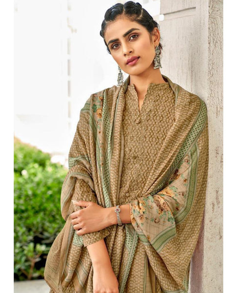 Light Brown Cotton Printed Unstitched Suit Fabric Set With Embroidery