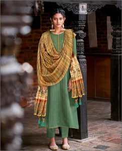 Green Cotton Embroidered Unstitched Suit Fabric Set