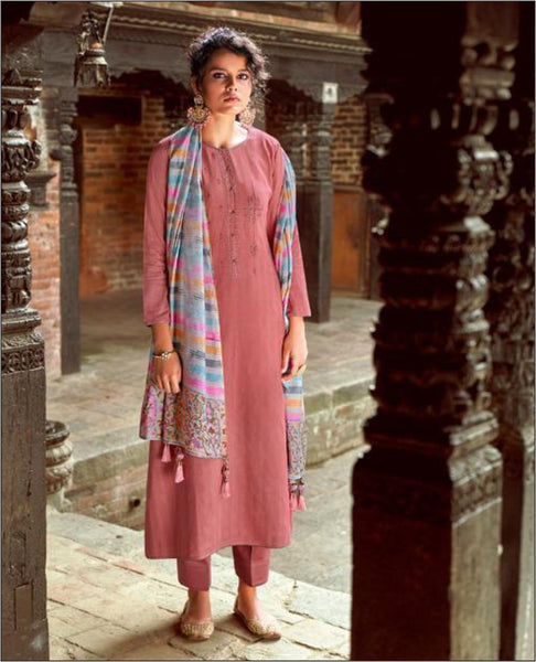 Onion Pink Cotton Embroidered Unstitched Suit Fabric Set