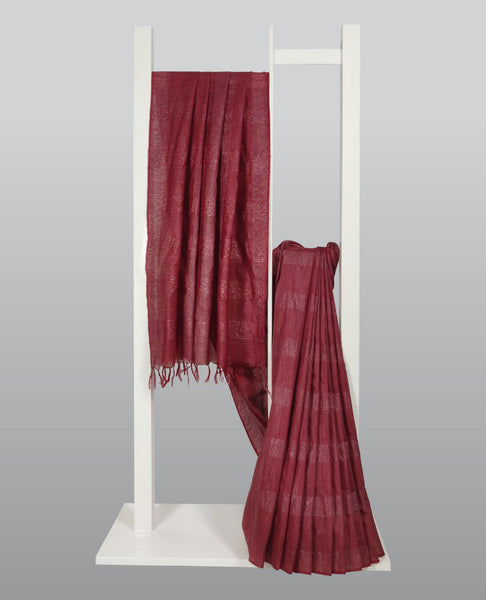 Maroon Handloom Silk With Zari Weaves Saree