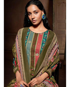 Mehandi Green Cotton Printed Unstitched Suit Fabric Set With Embroidery
