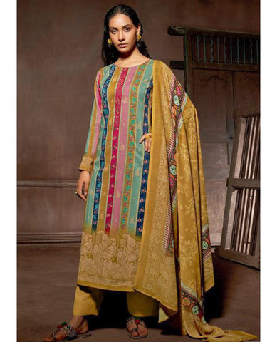 Mustard Cotton Printed Unstitched Suit Fabric Set With Embroidery