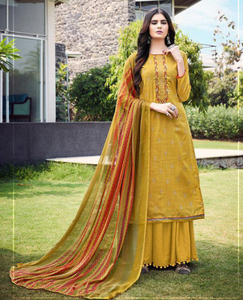 Yellow Cotton Slub Unstitched Suit Fabric Set with Embroidery