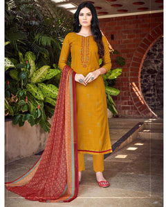 Mustard Cotton Slub Unstitched Suit Fabric Set with Embroidery