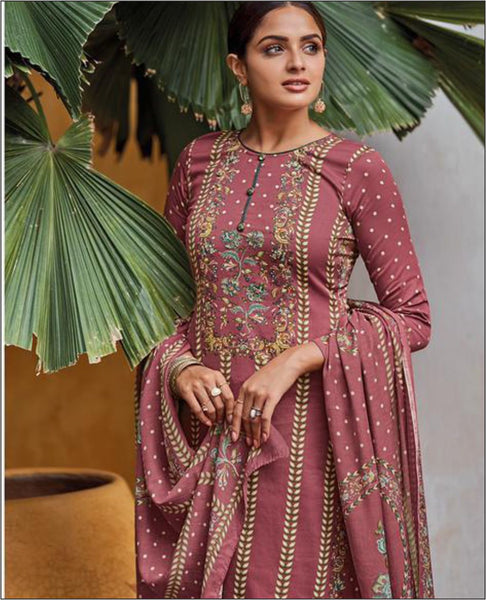 Deep Pink Cotton Jam Unstitched Suit Fabric Set With Embroidery