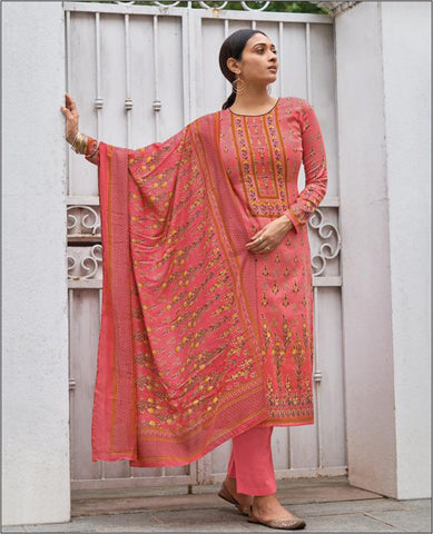 Light Pink Cotton Jam Unstitched Suit Fabric Set With Embroidery