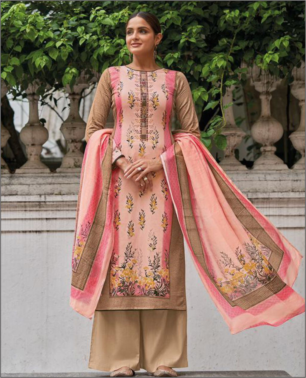 Pink Cotton Jam Unstitched Suit Fabric Set With Embroidery