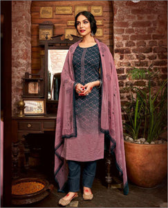 Navy Blue Shaded Cotton Printed Unstitched Suit Fabric Set With Embroidery