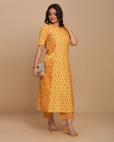 Yellow Stitched Printed Cotton A-Line Kurti