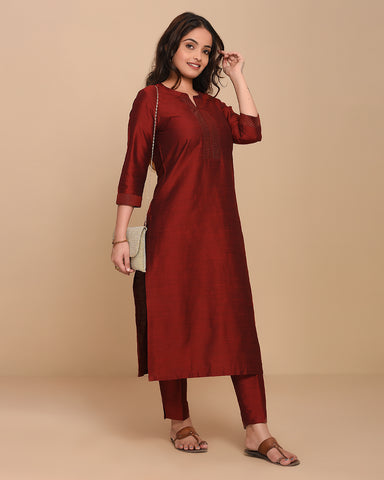 Stitched Maroon Cotton Silk  Straight Kurti With Pants