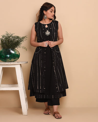 Stitched Black Cotton Tie-Dyed Kurti Set With Jacket Layering